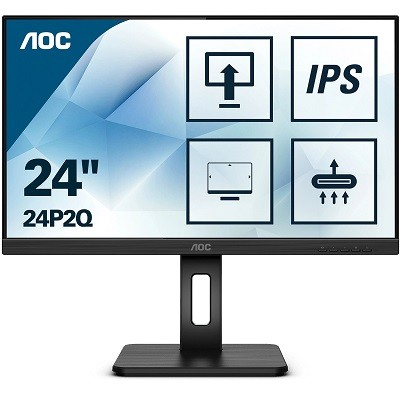 AOC 24P2Q, LED 24'', IPS, Full HD, USB 3.2, DP, HDMI, DVI, VGA, Adaptive Sync, integrirani zvučnici, 75Hz