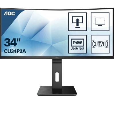 AOC CU34P2A, LED 34˝, VA, curved, 1500R, ultra wide, QHD, USB 3.2, DP, HDMI, integrirani zvučnici, 100Hz
