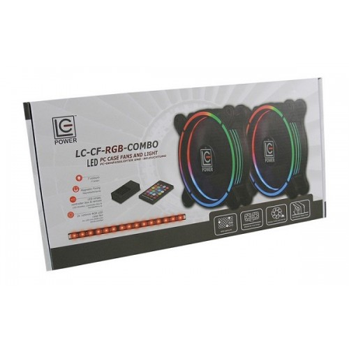 LC-Power RGB Kit, 2 x 120mm ventilator, LED traka